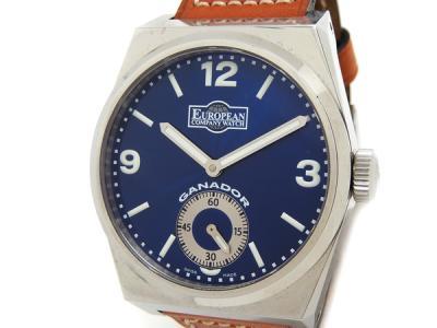 ヨーロピアン・カンパニー・ウォッチ ECW ガナドール PM64ST4658 腕時計 メンズ ブルー SS ステンレス 革ベルト 手巻き