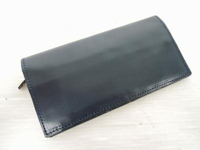 GLENROYAL グレンロイヤル LONG WALLET WITH CURVED ZIP フルブライドル 紺色 長財布