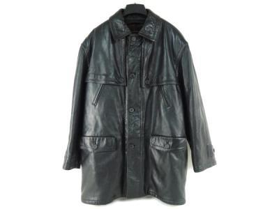 希少 フェンディ アパレル ビンテージ レザー ジャケット コート メンズ 52 黒