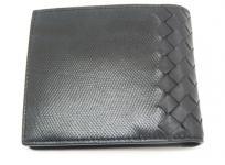 BOTTEGA VENETA ボッテガヴェネタ 二つ折り財布 レザー ブラック