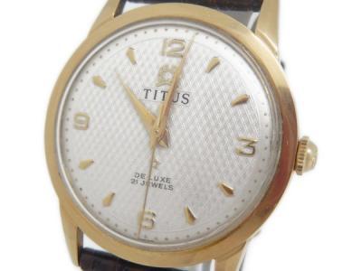 TITUS アンティーク K18 YG 750 金無垢 手巻き メンズ 腕時計 革ベルト 白文字盤