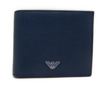 エンポリオ アルマーニ レザー メンズ 二つ折り財布 青 ブルー