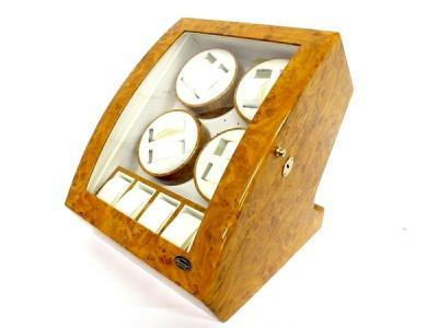 LUHW ローテンシュラガー 木製8連 腕時計用 ワインディングマシーン 鍵 LEDライト付