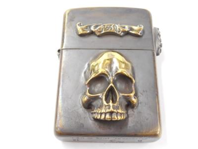Solid Traditional Silver STS Z02NC Zippo スカル ドクロ ライター 燻加工