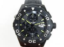 タグホイヤー アクアレーサー クロノグラフ CAJ2180 メンズ 腕時計 チタン ラバー 自動巻き オールブラック 黒文字盤