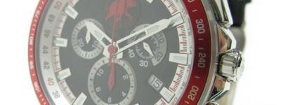 HUNTING WORLD ハンティングワールド クロノマジック クロノグラフ HW402BK クオーツ スイス メンズ 腕時計 ブラック×レッド レザーベルト