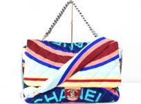 CHANEL Multicolor Printed Fabric Foulard シャネル 2018春夏コレクション 2WAY ラージ フラップバッグ レディース