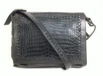 BOTTEGA VENETA ボッテガヴェネタ イントレチャートクロコ メッセンジャー バッグ 245169 ブラック ビジネスバッグメンズ