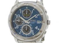 SEIKO セイコー クロノグラフ V657-9010 腕時計 クォーツ メンズ ブルー文字盤
