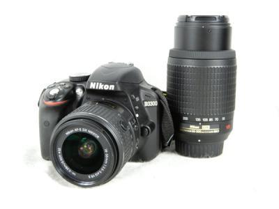 訳有 Nikon ニコン 一眼レフ D3300 ダブルズームキット ブラック デジタル カメラ D3300WZBK
