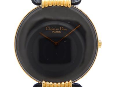 Christian Dior クリスチャン ディオール 腕時計 47 153-2 クォーツ ブラック文字盤 レザー