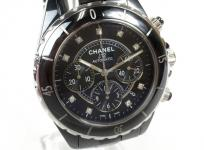 CHANEL シャネル J12 9Pダイヤ 黒セラ セラミック クロノグラフ H2419 自動巻き メンズ 腕時計