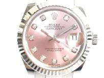 ROLEX ロレックス デイトジャスト 28 279174G ピンク文字盤 自動巻き WG × SS デイト 10Pダイヤ 時計 レディース