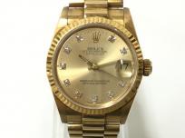ROLEX ロレックス オイスターパーペチュアル デイトジャスト 10P ダイヤ 68278G R番 ゴールド文字盤 K18 自動巻き 時計