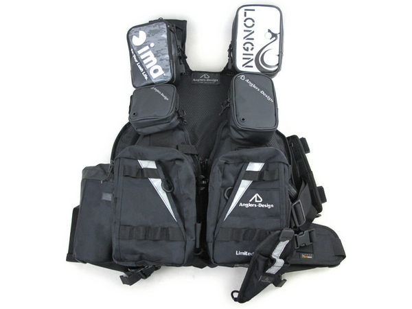 Anglers Design フィッシング ジャケット ブラック ベスト 釣り用品 ウェア