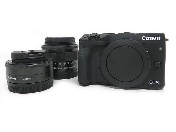 CANON キャノン EOS M3 EF-M 15-45mm 22mm ダブル レンズ キット EVF-DC1付