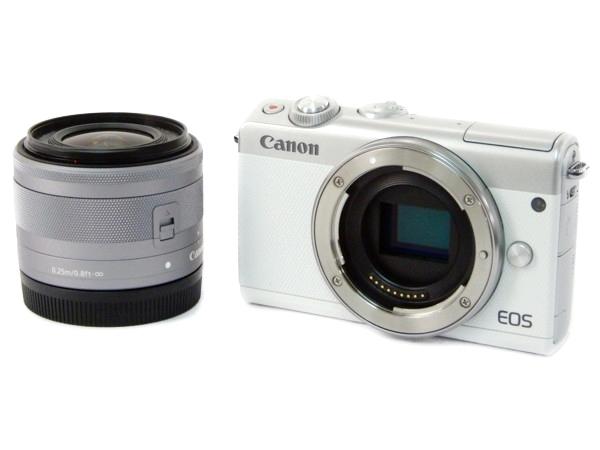 Canon キャノン ミラーレス 一眼 EOS M100 レンズキット ホワイト カメラ デジタル EOSM100WH-1545ISSTMLK