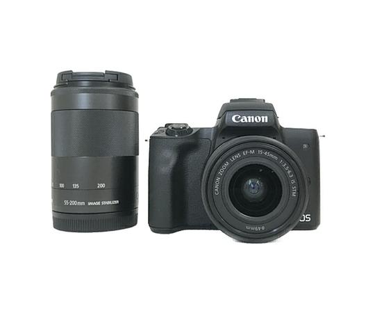 Canon キヤノン ミラーレス一眼 EOS Kiss M ダブルズームキット ブラック Wi-Fi 4K動画 デジタル カメラ EOSKISSMBKWZK