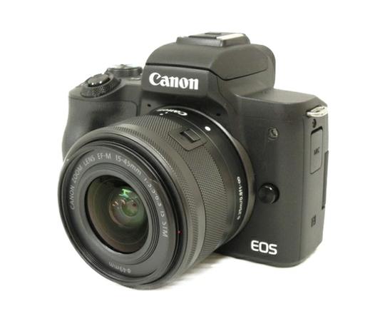 Canon キヤノン ミラーレス一眼 EOS Kiss M レンズキット ブラック Wi-Fi 4K動画 デジタル カメラ EOSKISSMBK-1545ISSTMLK