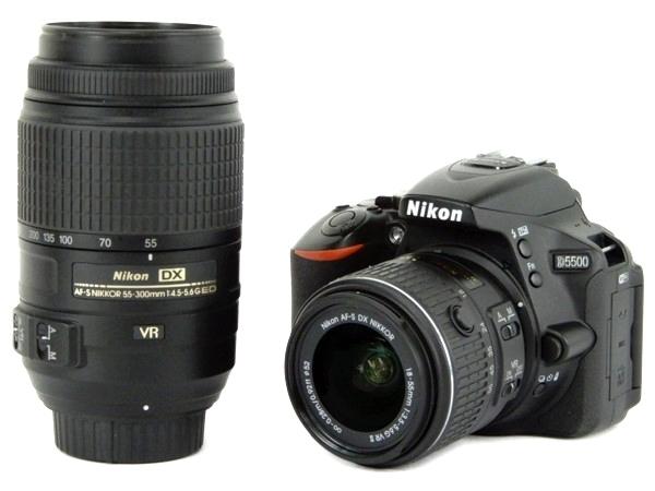 Nikon ニコン 一眼 レフ D5500 ダブルズームキット ブラック カメラ デジタル