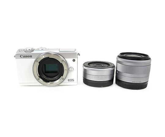 Canon キャノン ミラーレス一眼 EOS M100 ダブルレンズキット ホワイト デジタル カメラ EOSM100WH-WLK