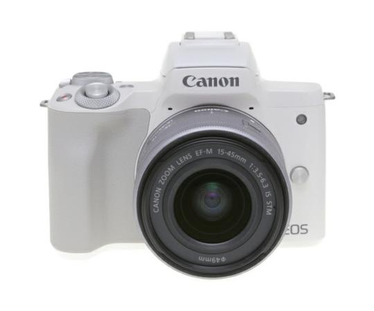 Canon キヤノン ミラーレス一眼 EOS Kiss M レンズキット ホワイト Wi-Fi 4K動画 デジタル カメラ EOSKISSMWH-1545ISSTMLK