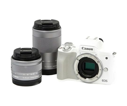 Canon キヤノン ミラーレス一眼 EOS Kiss M ダブルズームキット ホワイト Wi-Fi 4K動画 デジタル カメラ EOSKISSMWH-1545ISSTMLK