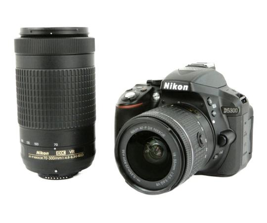 Nikon ニコン 一眼レフ D5300 AF-P ダブルズームキット ブラック デジタル カメラ 2400万画素 3.2型液晶 Wi-Fi D5300WZ3