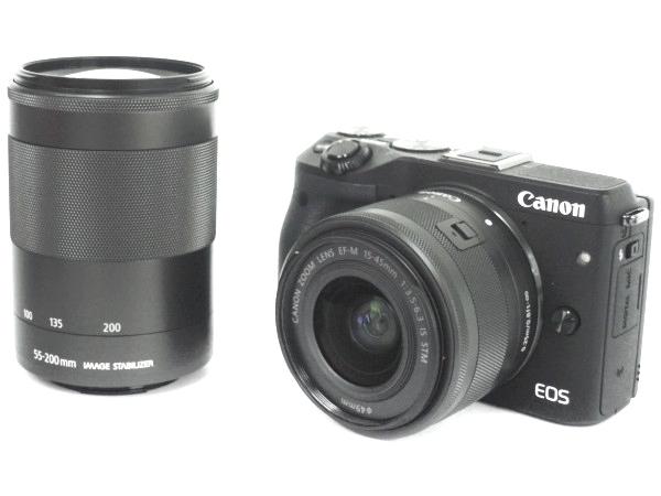 Canon キャノン ミラーレス一眼 EOS M3 ダブルズームキット2 ブラック デジタル カメラ EOSM3BK-WZOOMKIT2