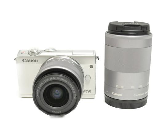 Canon キャノン ミラーレス一眼 EOS M100 ダブルズームキット ホワイト カメラ デジタル EOSM100WH-WZK